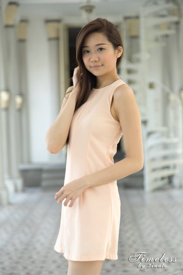 BACK IN STOCK - Timeless Sexy Slit Dress in Pastel Peach
