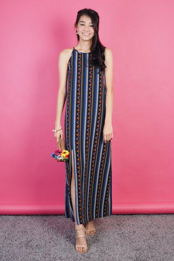 Sylwyn Tribal Maxi Dress in Blue
