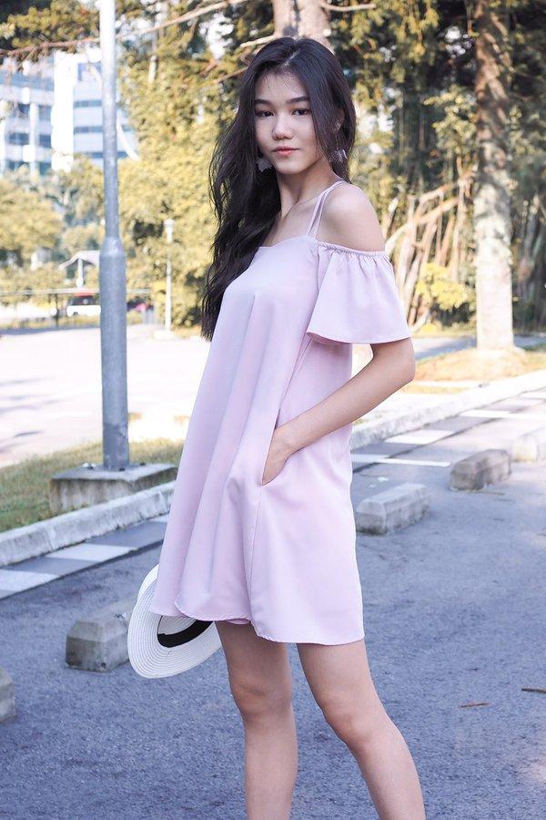 Gwenn Crossback Cold Shoulder Dress in Dust Pink [L]