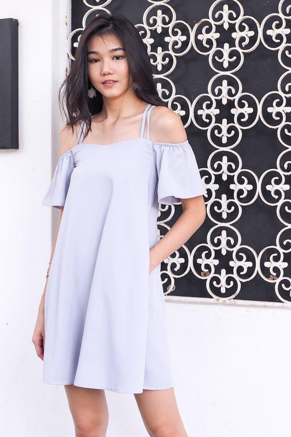 Gwenn Crossback Cold Shoulder Dress in Grey [L]