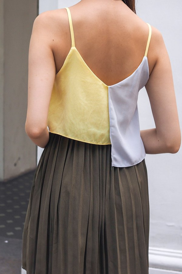Ivette Overflap Pleat Dress in Olive