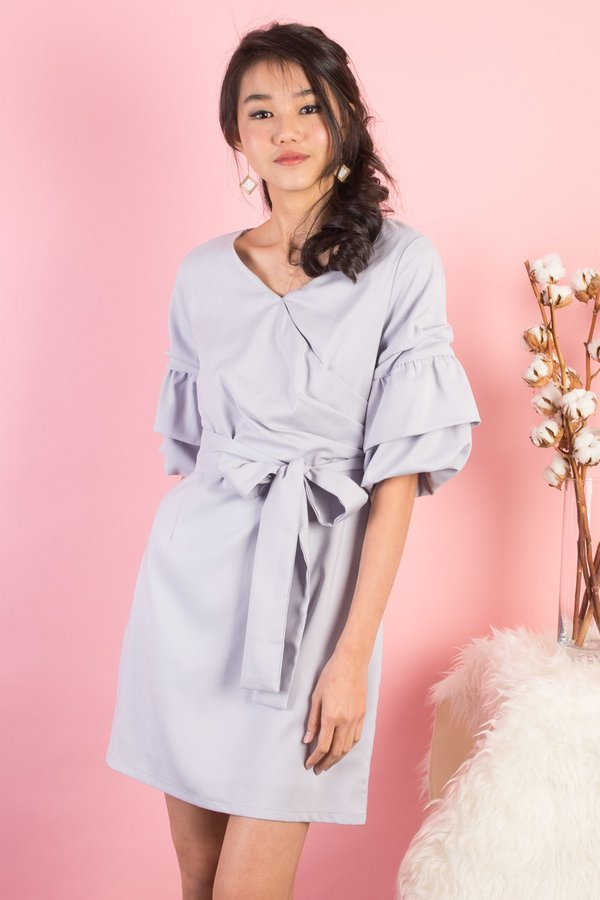 Mollie Triple Ruffled Sleeve Tulip Dress in Grey