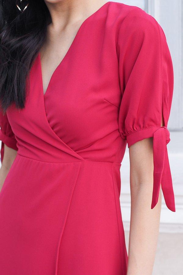 EXCLUSIVE - Terez Sleeved Ribbon Tulip Midi Dress in Magenta