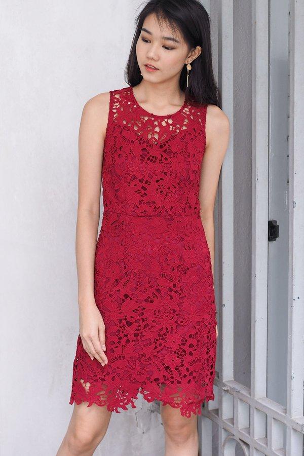 Chloe Crochet Festive Bodycon Dress in Wine Red