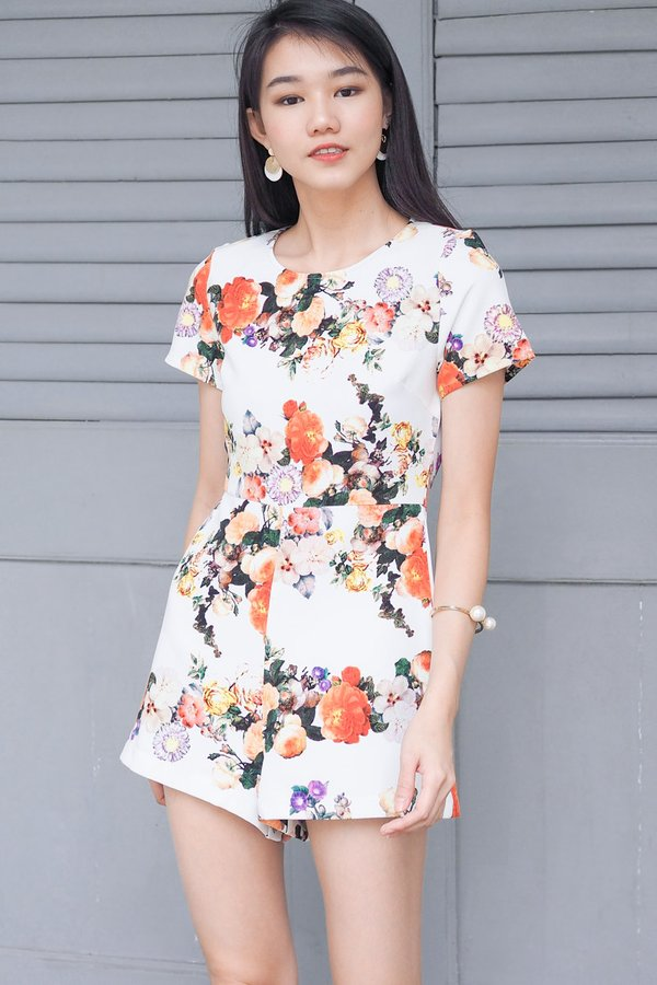 Shayla Floral Romper in White