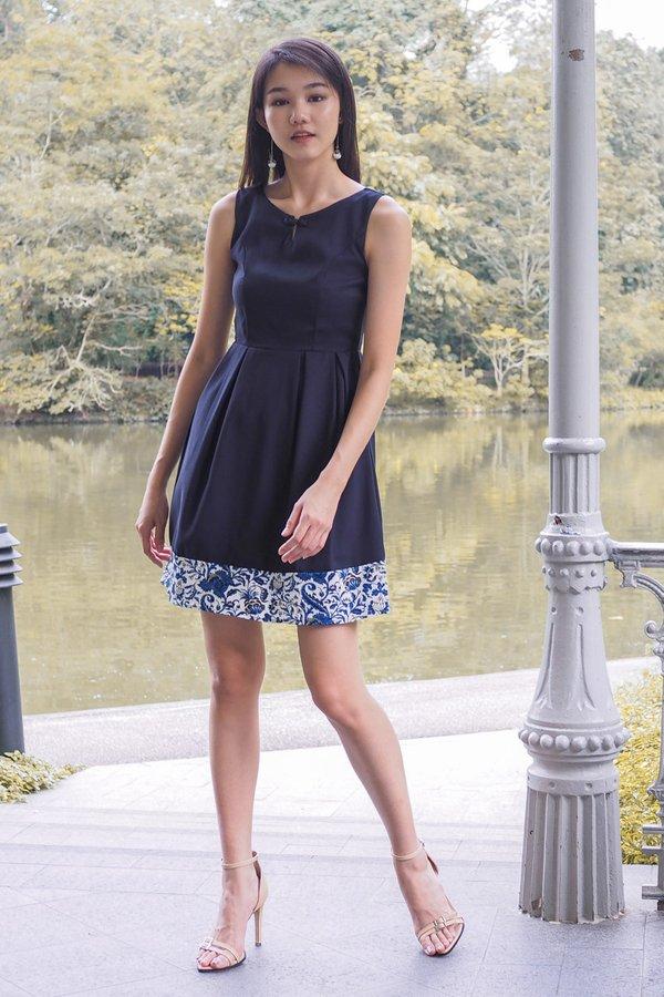 Jocelyn Cheongsam Knot Collar Panel Dress in Navy