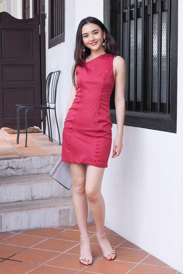 Jaida Stripes Bodycon Dress in Red