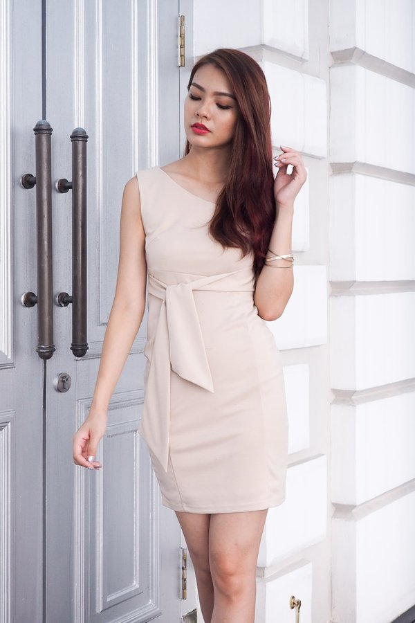 MADEBY3INUTE - Aubriana Side Tie Work Dress in Nude