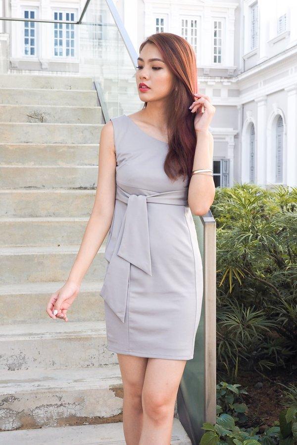 MADEBY3INUTE - Aubriana Side Tie Work Dress in Grey