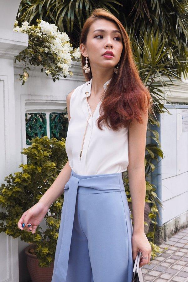 Tenley Front Tie Culottes in Ash Blue [XL]