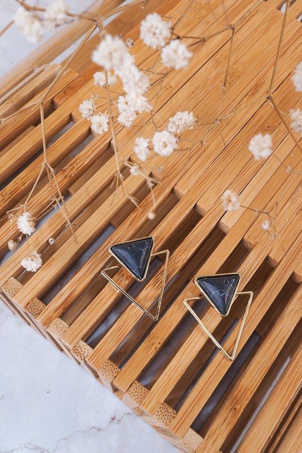 BACK IN STOCK - Corra Marble Double Triangle Earrings in Black
