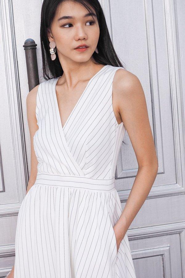 EXCLUSIVE - Ella Stripey Classic Work Midi Dress in White [M/L]