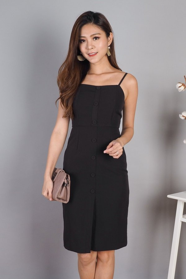 Katrin Buttons Down Dress in Black [S]