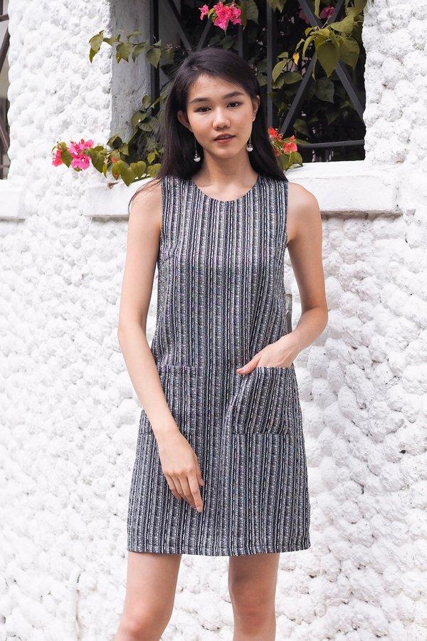 Sonya Double Pocket Tweed Dress in Black
