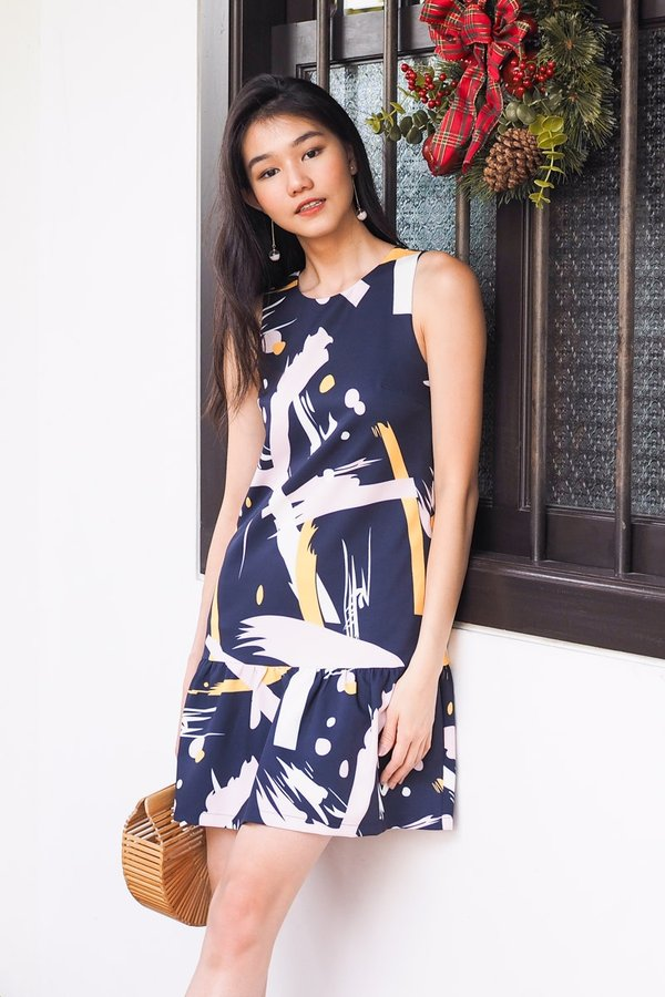 BACK IN STOCK Holly Play Hem Dress in Navy Abstract [S]