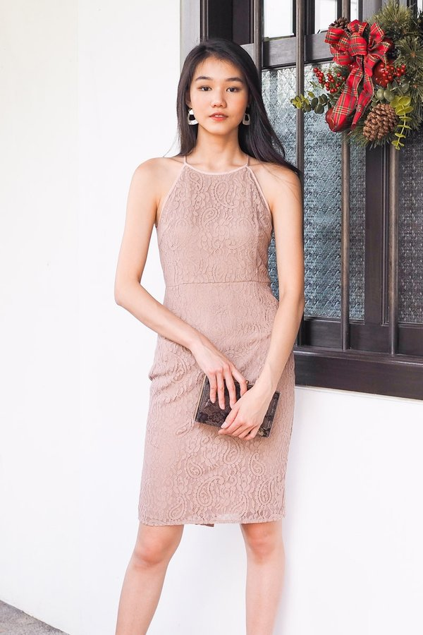 Narelle Cut In Lace Bodycon Dress in Dust Pink [M]
