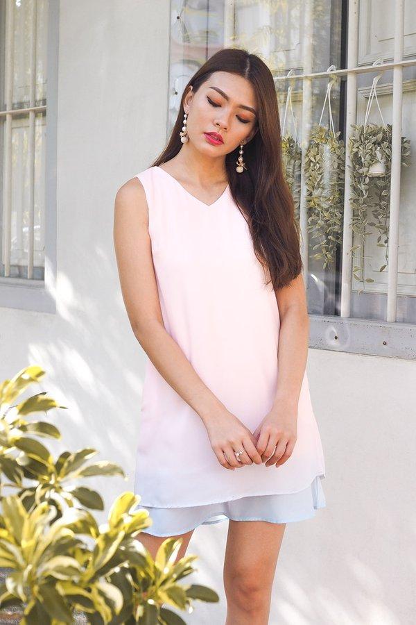 Gladys V Neck Ombre Dress in Pink/Sky