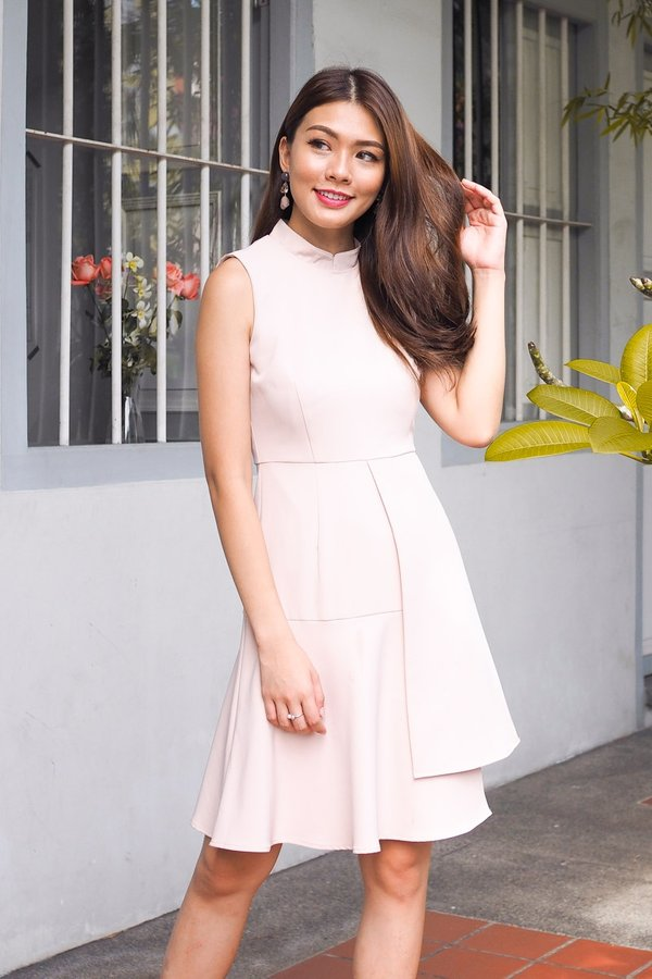 Ginnie Overlap Drophem Dress in French Pink [S/L]