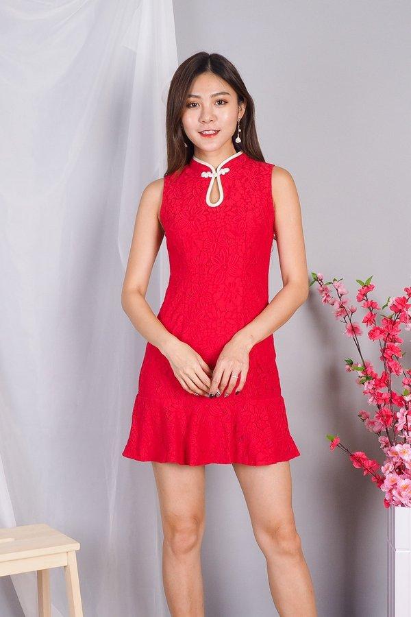 Vita Oriental Lace Romper Dress in Red