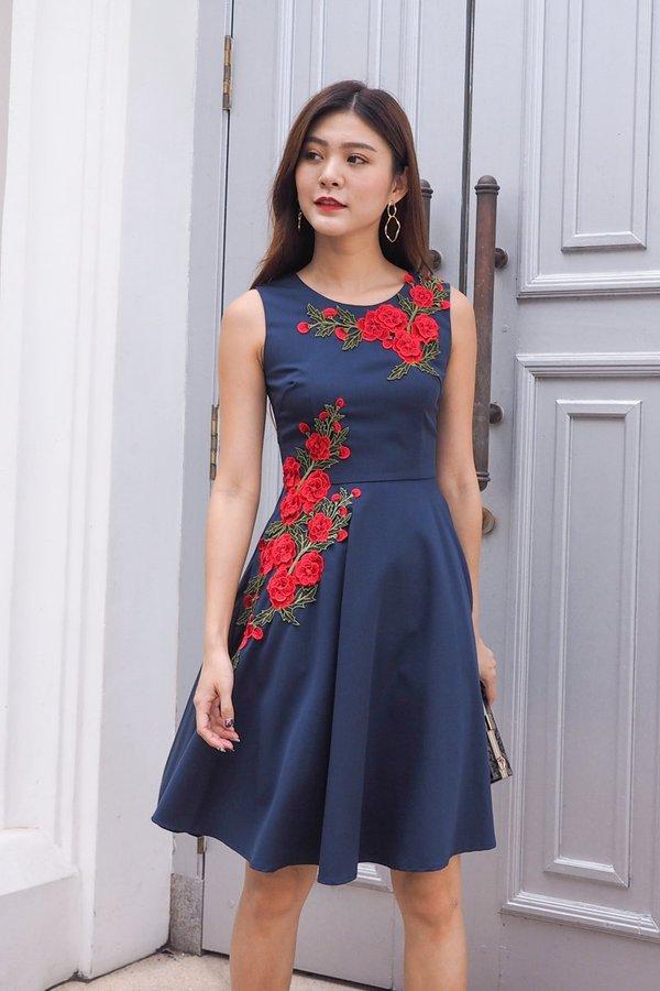 Emilie Full of Roses Dress in Navy