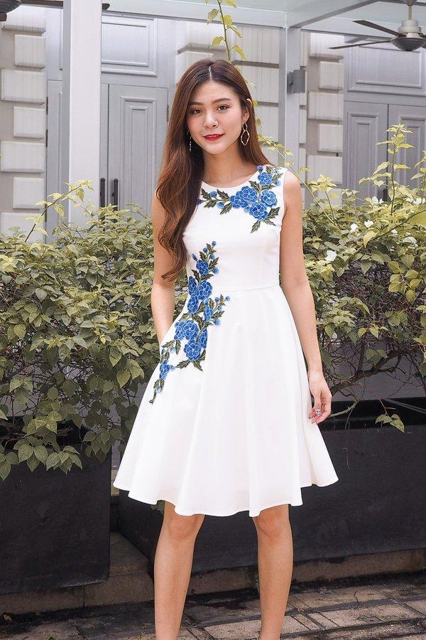 Emilie Full of Roses Dress in White