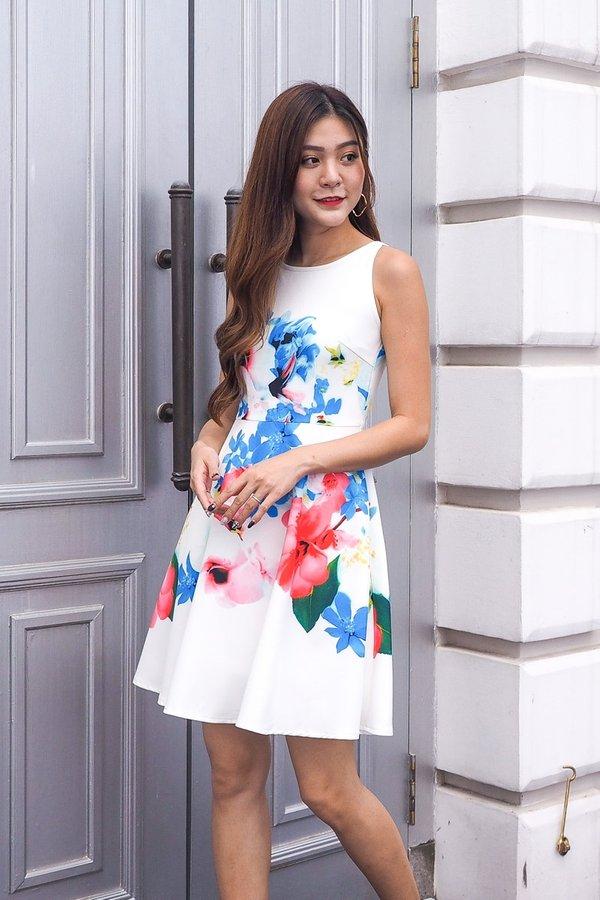 Ayla Flora Print Dress in White