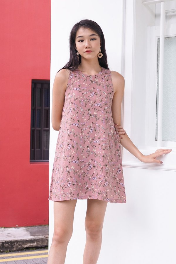 MADEBY3INUTE - Faith Floral Tank Dress in Taupe Pink [M]