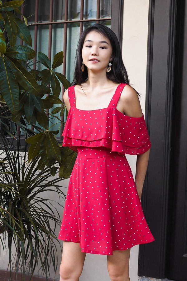 MADEBY3INUTE - Edyna 2 Way Flutter Dress in Red Polka