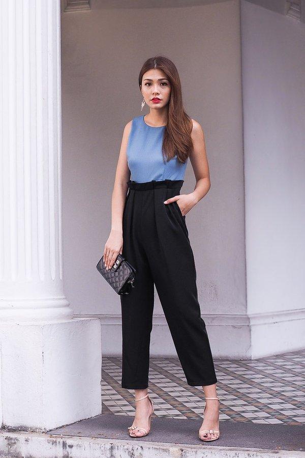 Oakley Paperbag Duo-toned Jumpsuit in Ash Blue/Black
