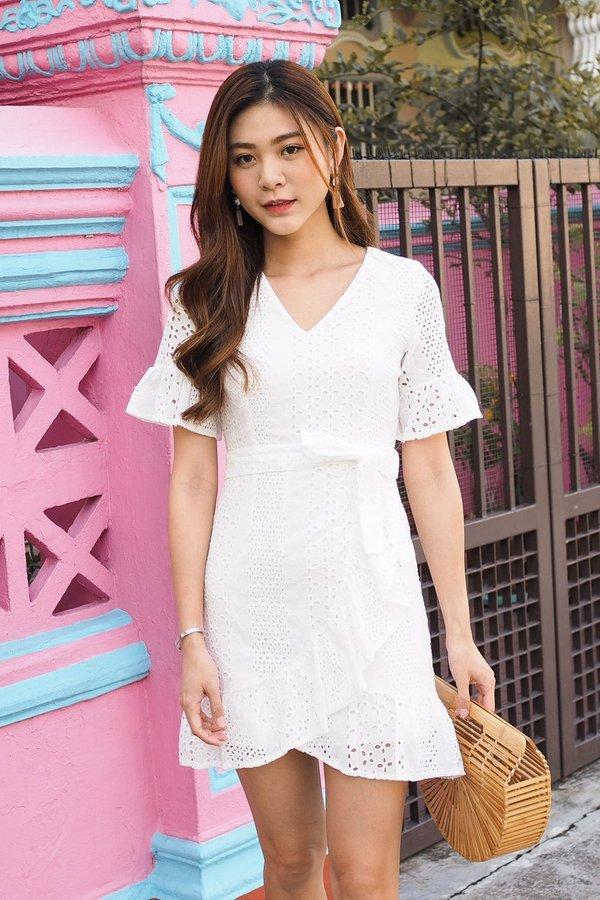 BACK IN STOCK Jenessa Ruffled Eyelet Dress in White