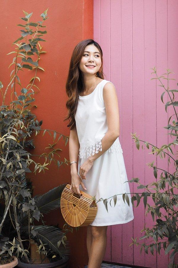 Penelope Tassel Slip On Dress in White