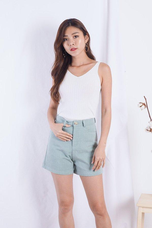 Tanya High-Waist Shorts in Mint
