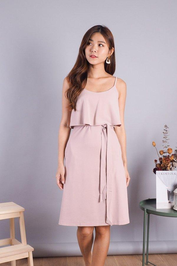 Lexi Faux 2 piece Dress in Dust Pink