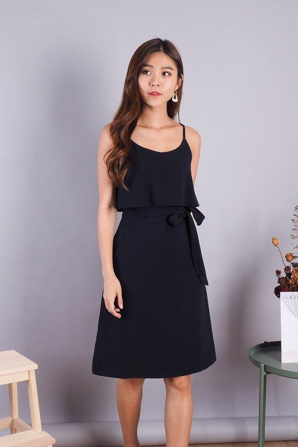 Lexi Faux 2 piece Dress in Navy