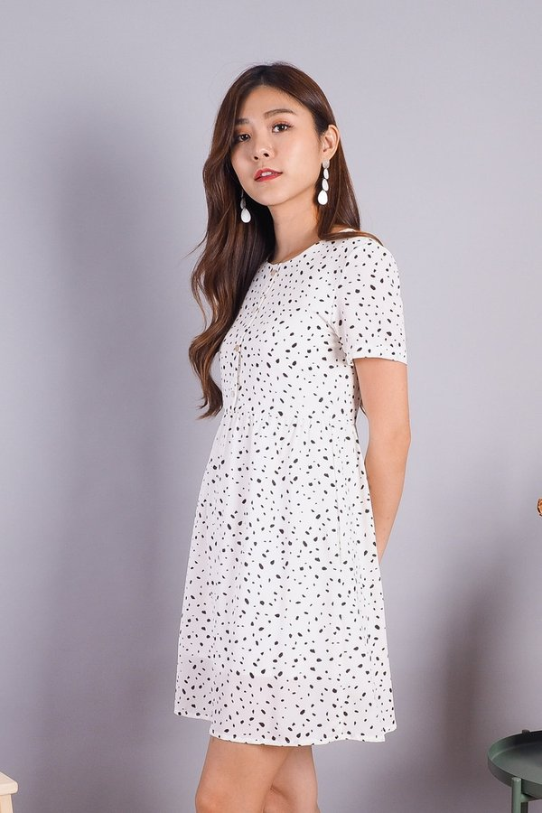 Wendy Buttons Babydoll Romper Dress in White