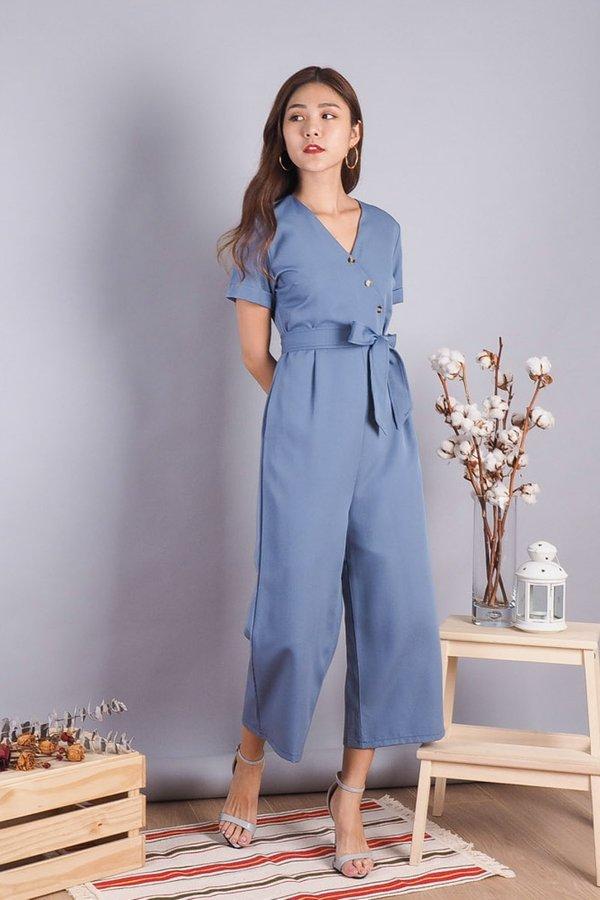 Jodie Buttons Jumpsuit in Ash Blue [L]