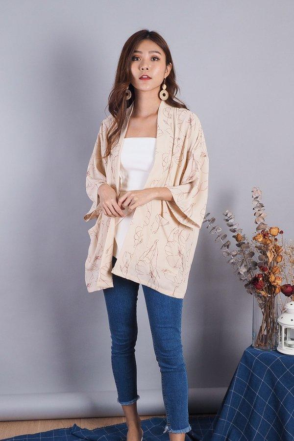 Fayne Kimono Jacket in Nude Floral [L]