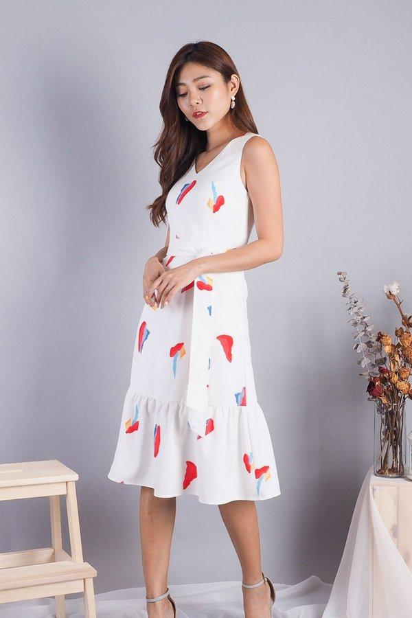 Cassandra Abstract Midi Dress in White