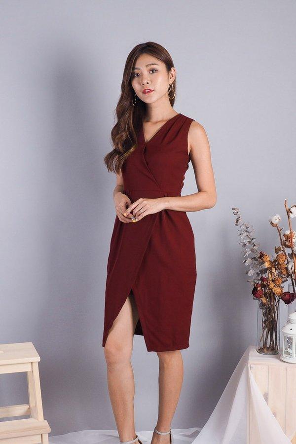 Yaira V Neck Angle Slit Work Dress in Wine
