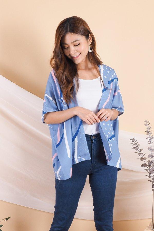 Ariko Abstract Kimono Jacket in Blue