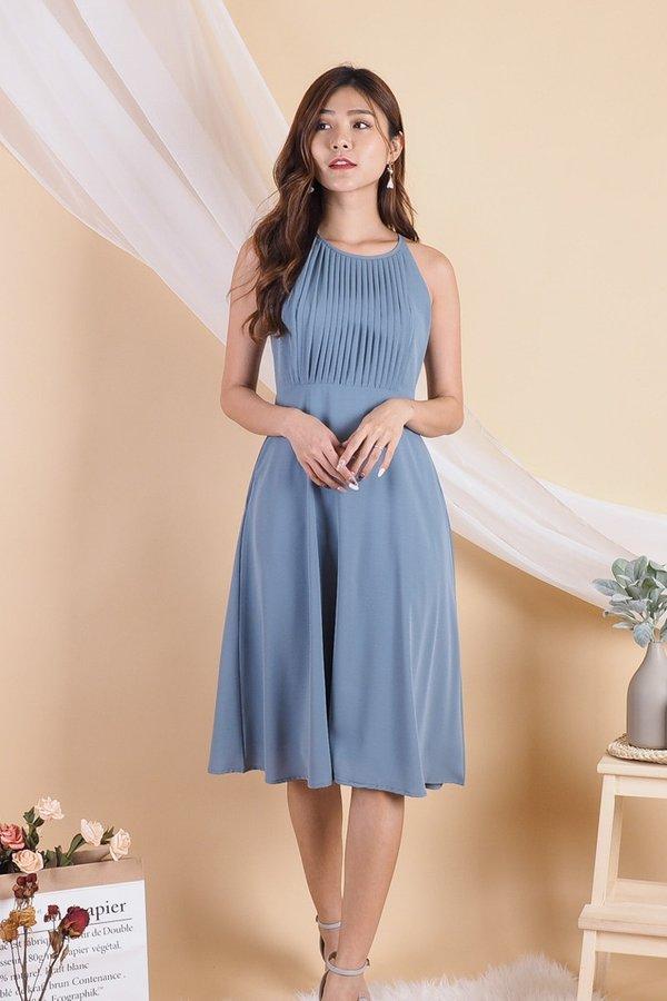 Bega Centered Pleats Halter Dress in Blue [S/M]