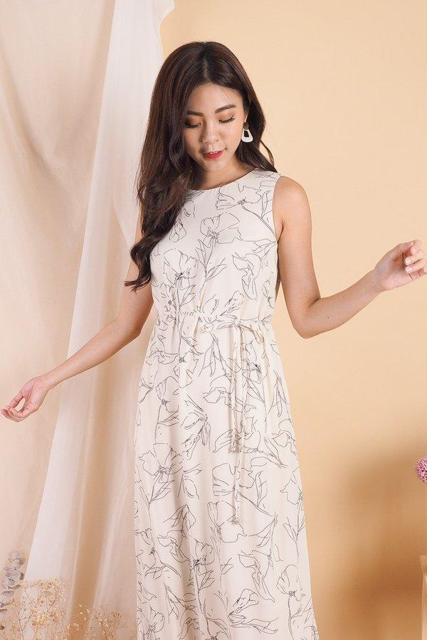 Jaleesa Floral Handdrawn Maxi Dress in Cream