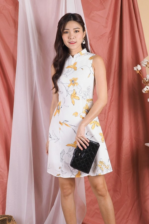 Madeira Removable Collar A Line Dress in White Floral