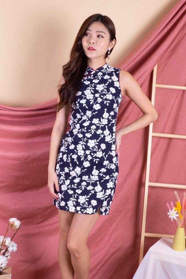 Bethwyn Spring Cheongsam Dress in Navy Floral