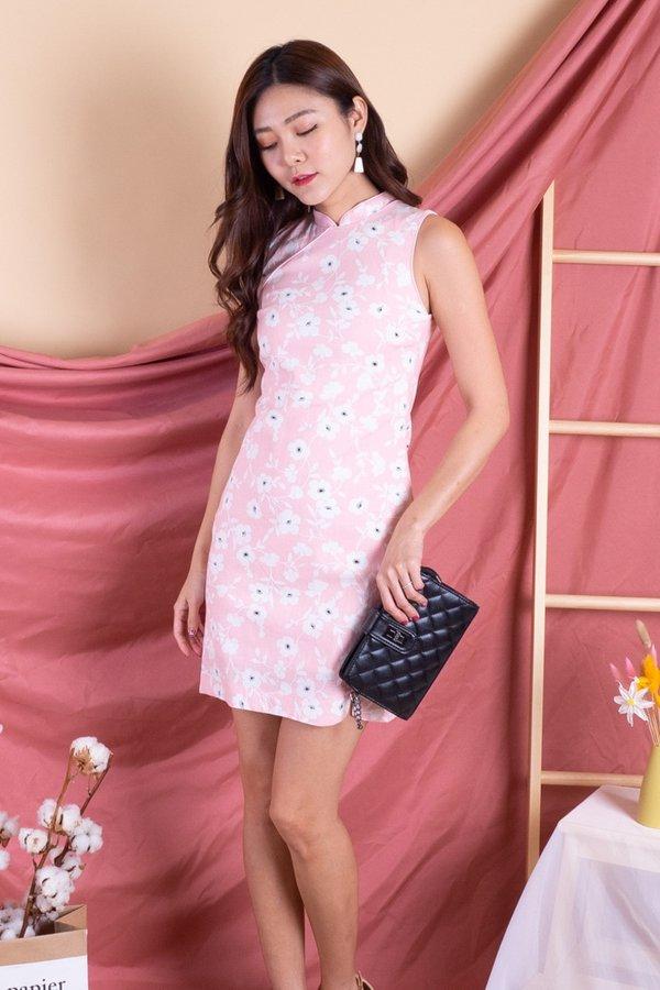 Bethwyn Spring Cheongsam Dress in Pink Floral