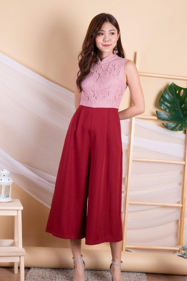 EXCLUSIVE - Brisha Lace Colourblock Culottes Jumpsuit in Dust Pink/Wine