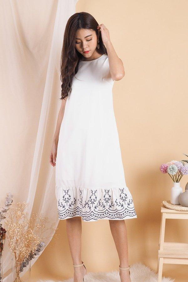 Nickie Embroidery Hem Midi Dress in White