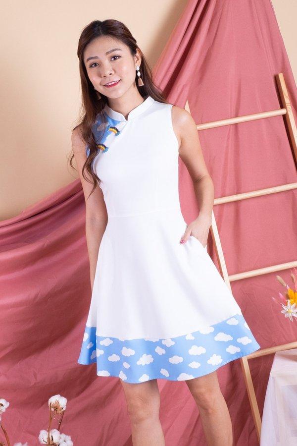 On Cloud Nine Cheongsam Dress in White