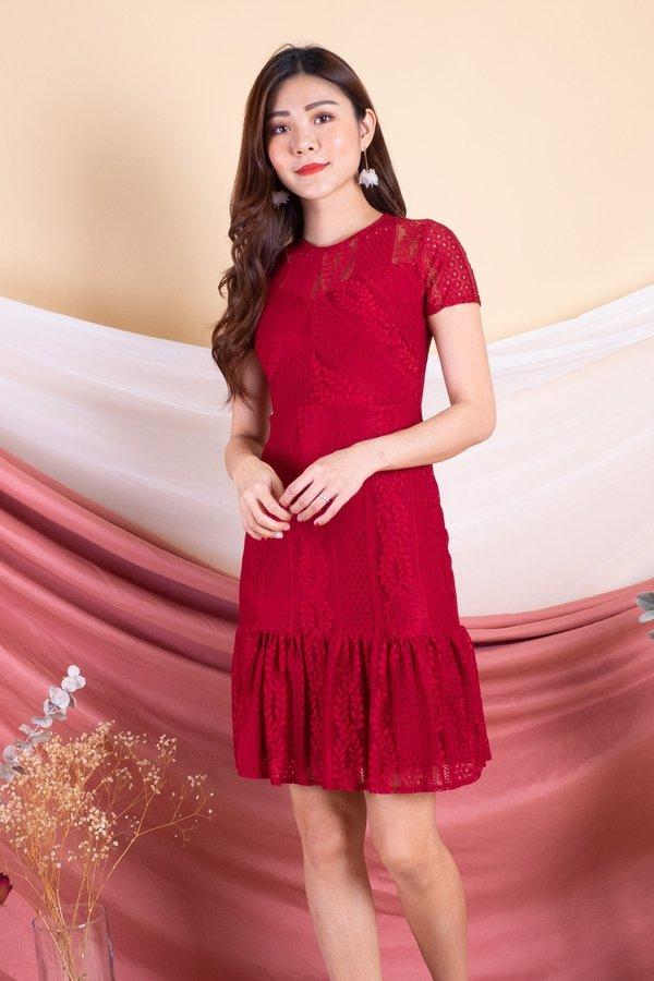 Dalphine Lace Flutter Hem Sleeved Dress in Red