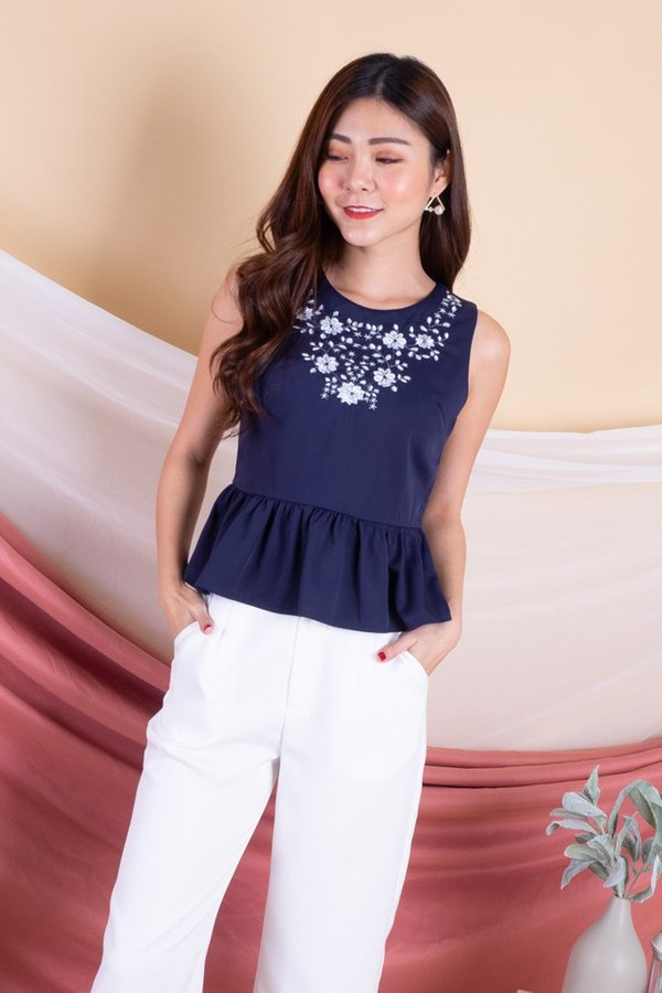 MADEBY3INUTE - Yue Embroidery Peplum Top in Navy